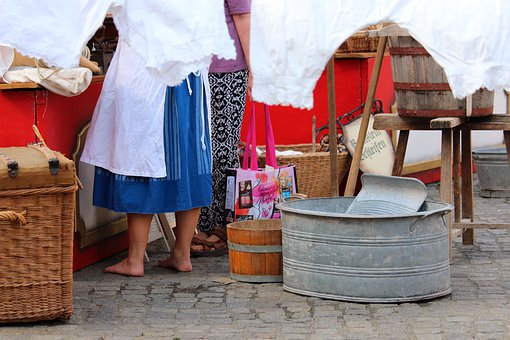 Zinc Tub, Laundry Basket, Barefoot, Nostalgia