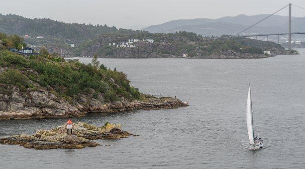 Norway, Bergen, Sailboat, Bridge, Lighthouse, Nature