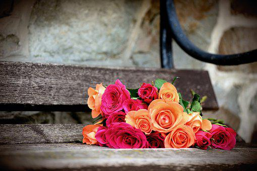 Roses, Bouquet Of Roses, Bank, Romantic, Flowers