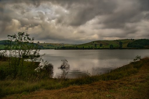 Lake, Nature, Water, Sky, Mountains, Clouds, Marine