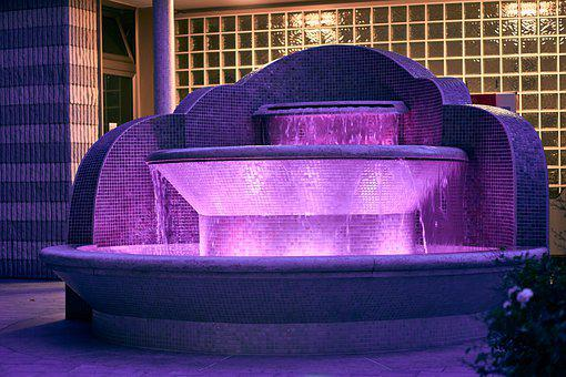 Fountain, Illuminated, Decoration, Water, Water Feature