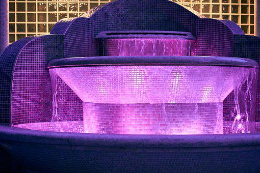 Fountain, Illuminated, Decoration, Water, Water Feature