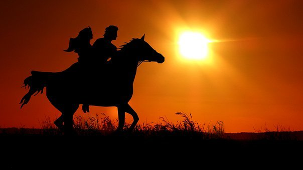 Sunset, Horse, Gallop, Riders, Couple, Orange