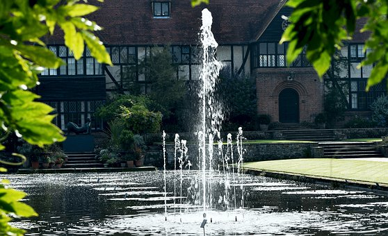 Fountain, Water, Gardens, Stately Home, Wisley