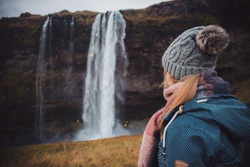 Girl, Waterfall, Iceland, Nature, Woman, Landscape