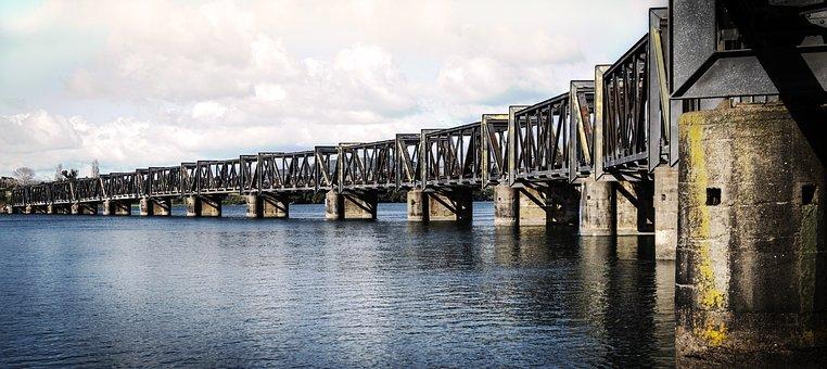 Bridge, Railway, Water, Landscape, Metal, Harbour