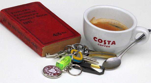 Coffee Break, Costa, Cup, Book, Read, Keyring, Teaspoon