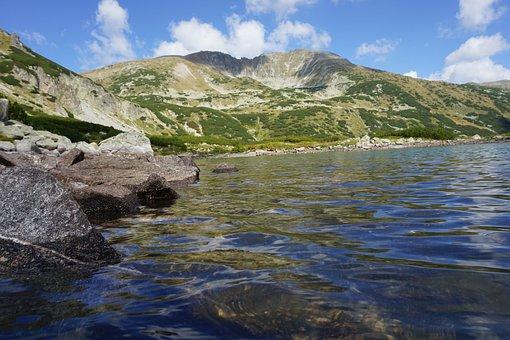 Mountain, Lake, Water, Sun, Nature, Rocks, Green, Sky