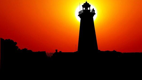 Sunset, Lighthouse, Landscape, Sky, Nature, Light