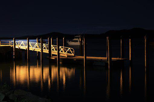 Night, Lights, Reflection, Jetty, Bridge, Mirror, Boat