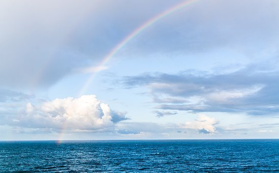Rainbow, Clouds, North Sea, Colorful, Nature, Weather