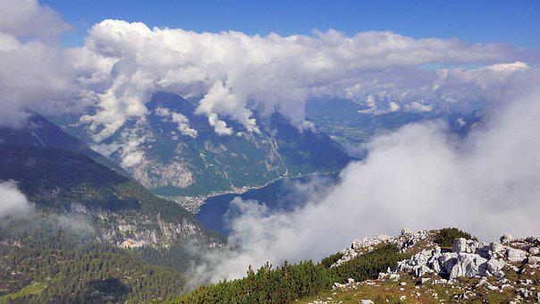 Panorama, Halstatt Lake, Clouds, Krippenstein