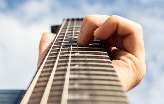 Guitar, Guitarist, Hand, Sky, Blue, Prs, Instrument