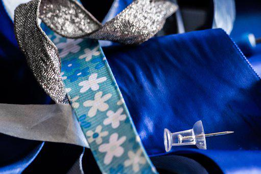 Blue, Ribbon, Sewing, Pins, Drawing Pins, Stationery