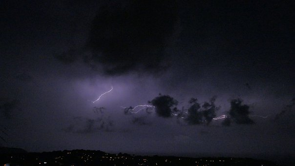Thunderstorm, Sky, Night, Lightning, Nature, Clouds