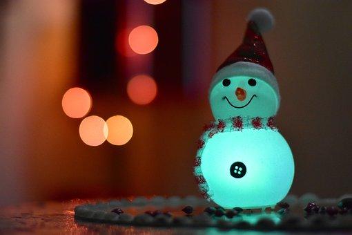 Candid, Snowman, Lights, Bokeh, Christmas, December