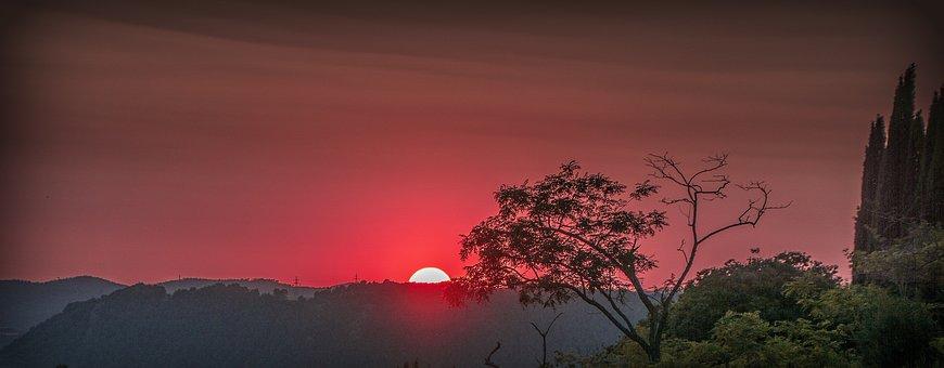 Solstice, Summer, Sun, Red, Landscape, Twilight, Dusk