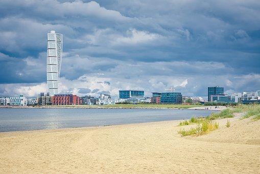 Malmo, Turning Torso, Ribersborg, Beach, Ocean, Sea