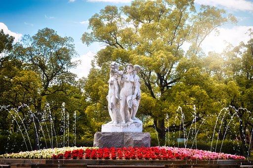 Fountain, Sculpture, Water, Art, Fountain City, Figures