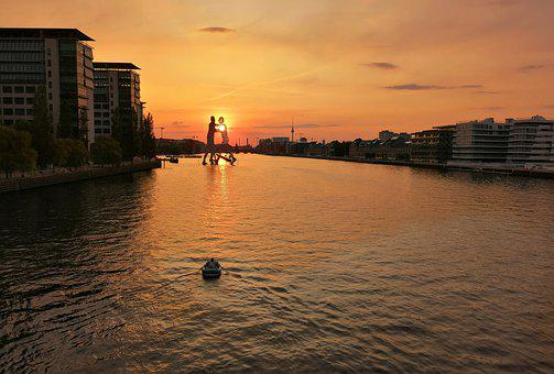 Berlin, Spree, River, Evening, Sunset, Boat, Water