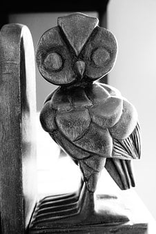 Owl, Book Support, Support, Wood, Black White, Woodcut
