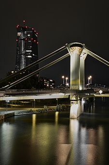 Bridge, Architecture, River, Night, Frankfurt, Lighting