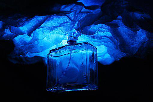 Bottle, Perfume, Blue, Fragrance, Aroma, Aromatic