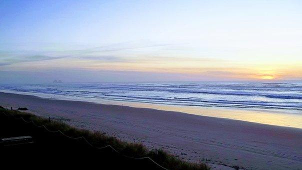 Rockaway, Oregon, Usa, Ocean, Beach, Coast, Waves