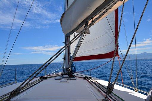 Sails, Mast, Bow, Boat, Alberes, Sea, Navigation