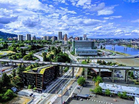 Portland, Oregon, Usa, Willamette, River, Cityscape