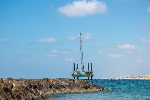 Platform, Sea, Dock, Crane, Industrial, Drilling