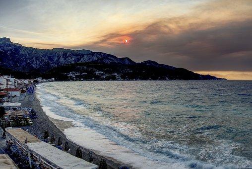 Samos, Kokkári, Long, Beach, Most, Evening