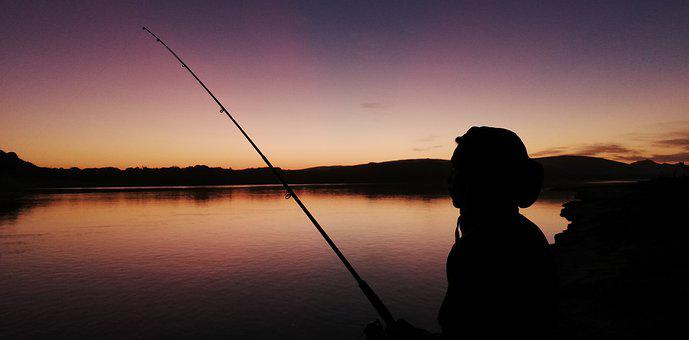 Fishing, Rod, Silhouette, Man, Fisherman, Dusk