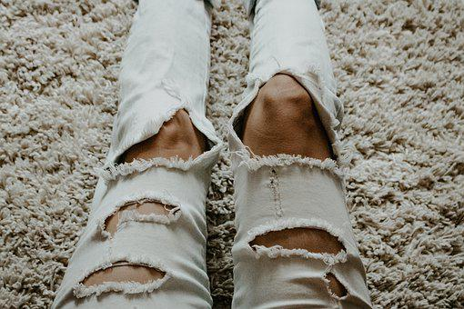 Legs, Pants, Ripped, Fashion, Jeans, Feet, Woman