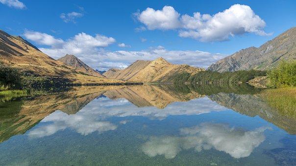 Lake, Mirroring, New Zealand, Moke Lake, Waters