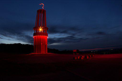 Moers, Safety Lamp, Bill, Landmark, Night, Ruhr Area