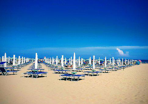 Sea, Sky, Blue, Beach, Umbrellas, Perspective