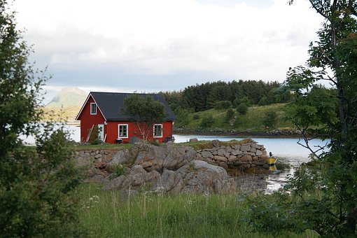 House, Landscape, Water, Mountains, Rock, Nature