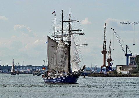Tall Ship, Rostock, Port, Spout, Warnemünde, Hanse Sail