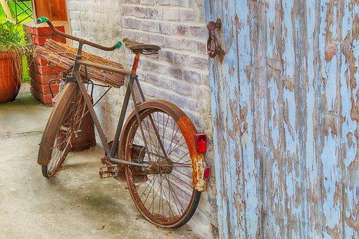 Bike, Former, Bicycle, Rust, Vintage, Farm, Field