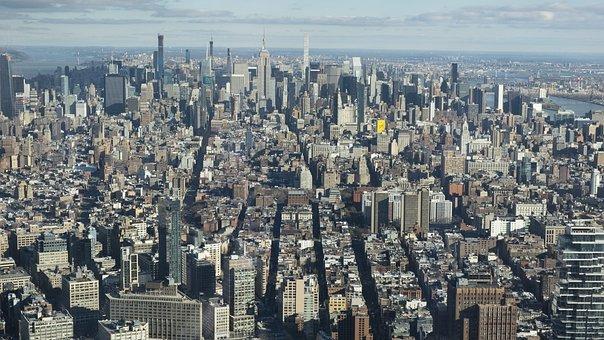 Skyline, Nyc, Manhattan, Building, Sunrise