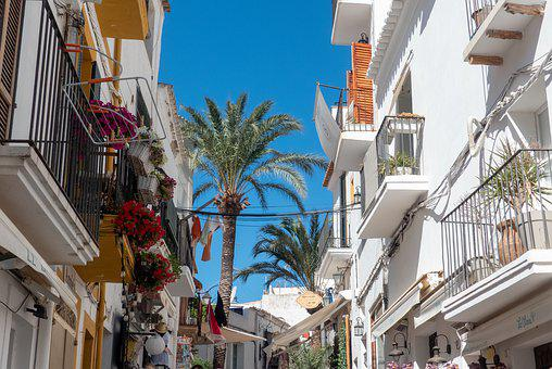 Ibiza, City, Eivissa, Alley, Spain, Idyllic, Sky