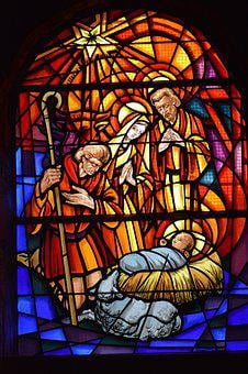 Stained Glass, Window, Church, Nativity, Christmas