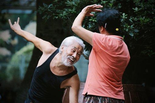 China, Elder, Dance, Couple, Man