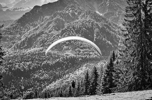 Paraglider, Flying, Mountains, Nature, Sport