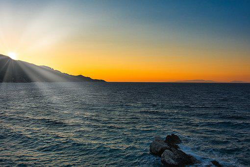 Greece, Samos, Kokkári, Long, Beach, Sunset