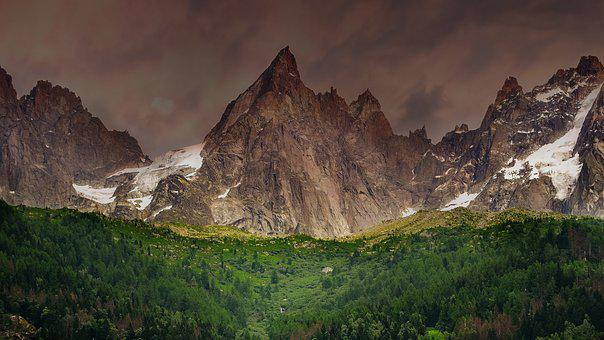 Mountain, Green, Snow, Alps, Landscape, Hill, Sky
