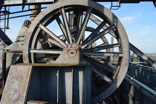 Conveyor Wheel, Spoke, Sky, Industry, Grey, Technology