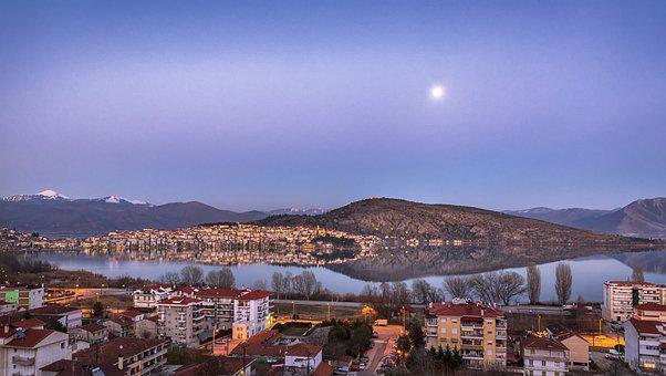 Moon, Lake, Kastoria, Water, Sky, Landscape, Moonlight