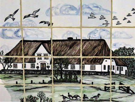 Tiles Image, Tile, Thatched Cottage, Landscape, Birds